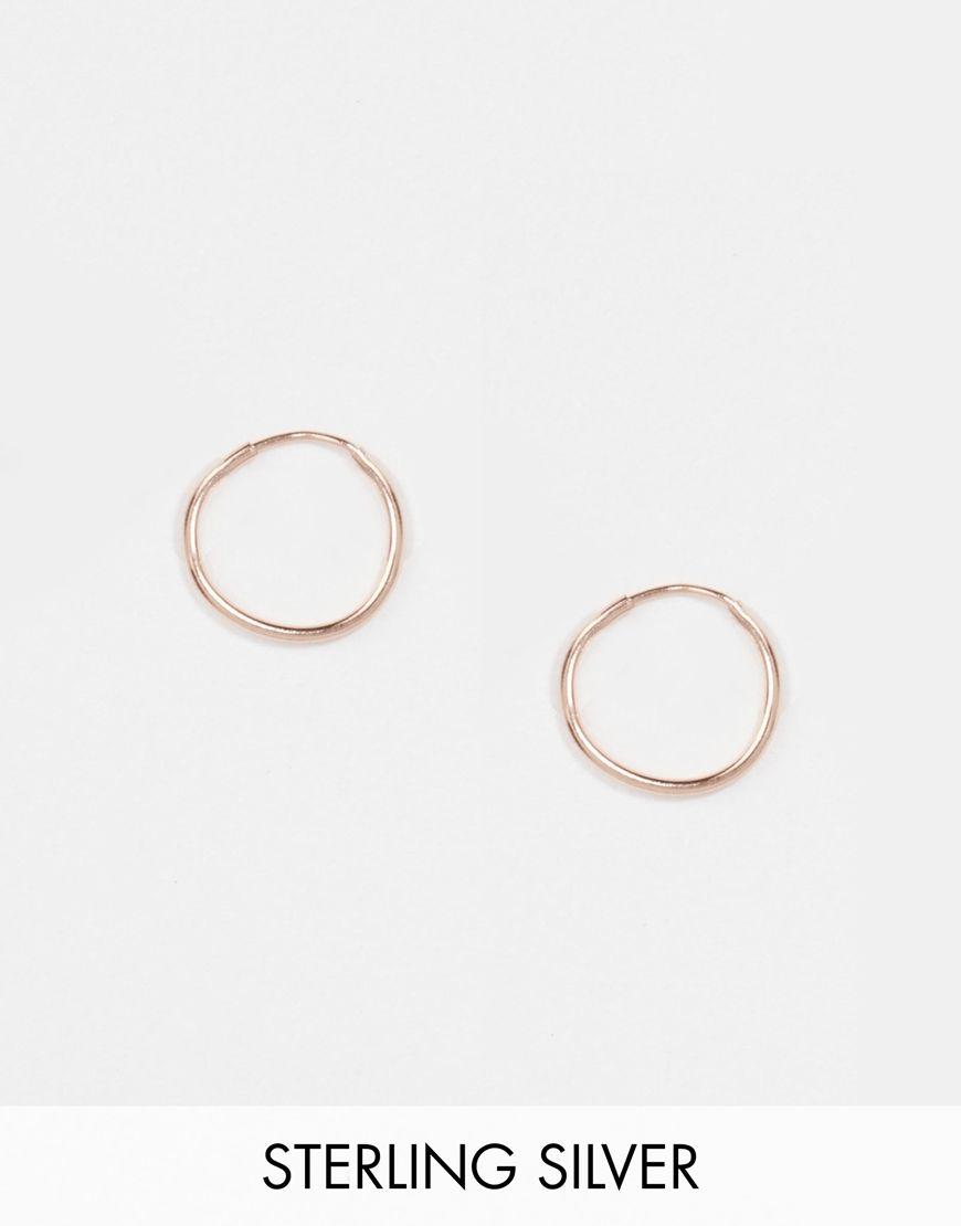 Asos Rose Gold Sterling Silver 9mm Hoop Earrings