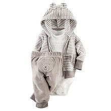 Carters Boys 3 Piece Grey Terry Striped Hooded Cardigan, White Worlds Most Adorable Bodysuit and Bear Applique Pant Set