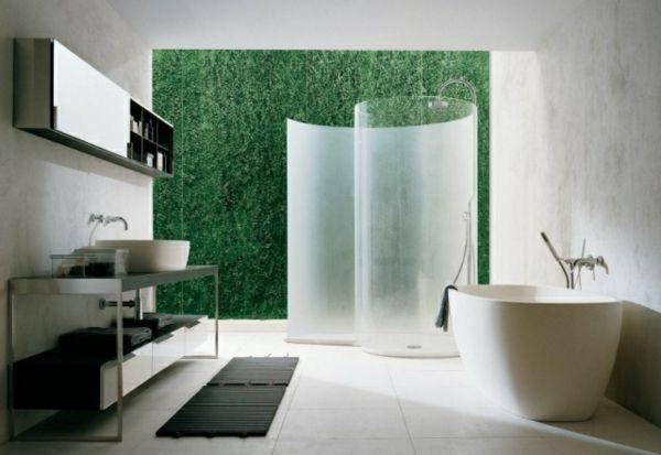badewanne mit dusche - weißes badezimmer und eine graswand - 21 - badezimmer badewanne dusche