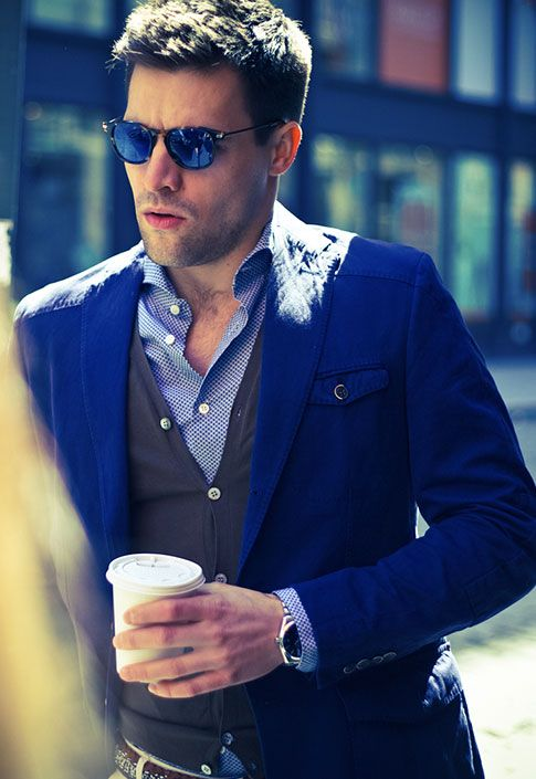 233feafcc5 Suitsupply - CASABLANCA BLUE PLAIN with ARMY CARDIGAN VEST Cheap Ray Ban  Sunglasses