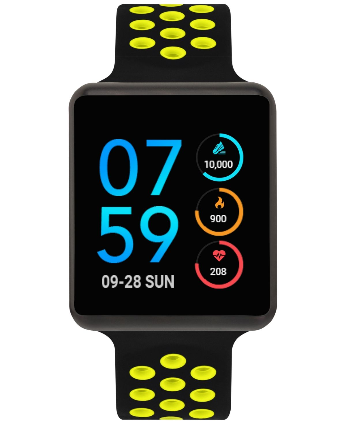 Vibrant yellow accents perforate the sleek black design of iTouch's sophisticated Gps and heart rate equipped touchscreen smart watch from the special edition Air collection. Style #ITA42105U75C-339