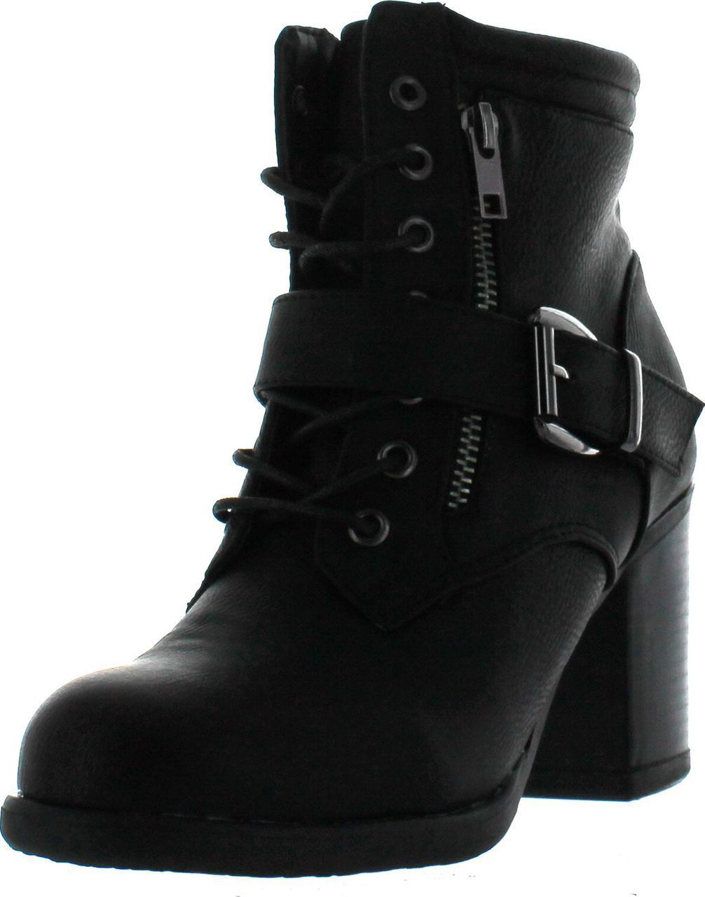 54a71ac9e0844 Betani Tanya-1 Women s Lace Up Buckle Strap Chunky Heel Combat Ankle Booties  - ShoeCenter.com