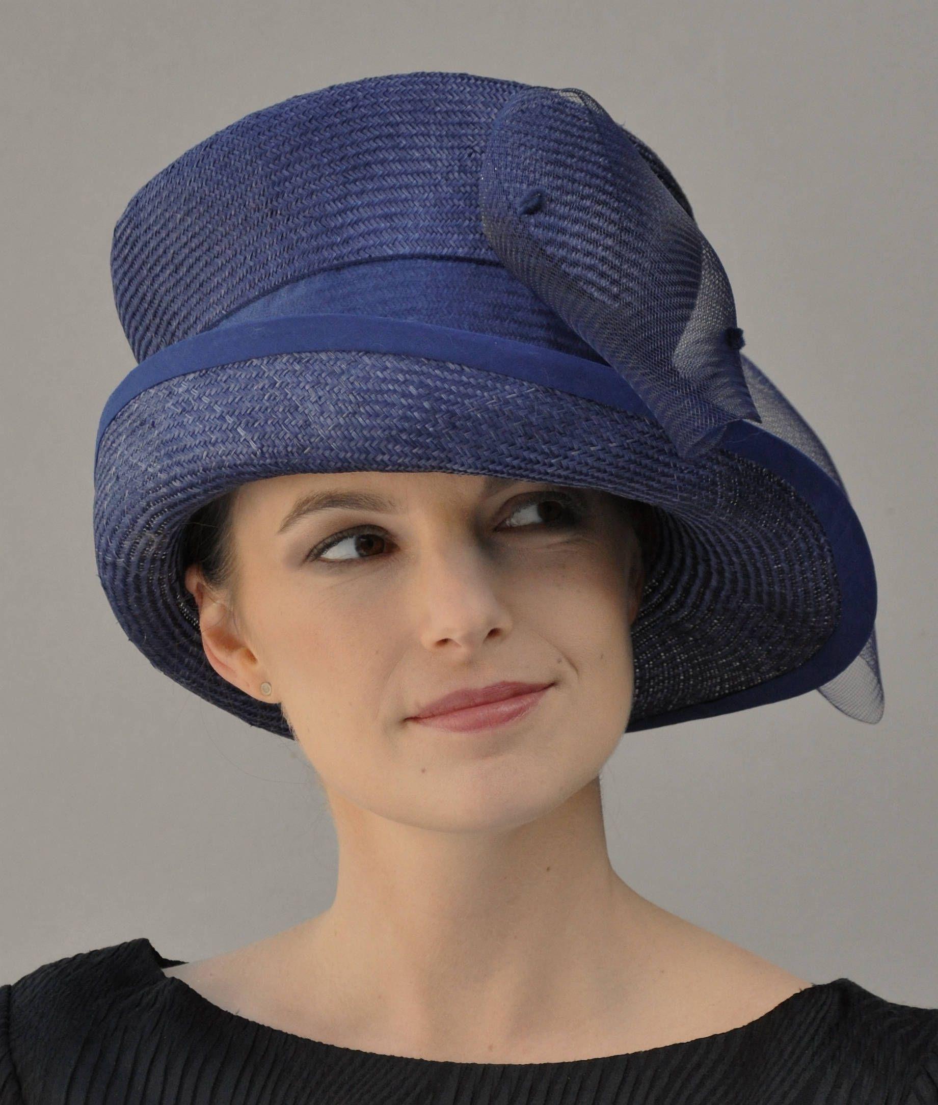 42cd4370a Wedding hat, Women's Navy Hat, Formal Navy Hat, Church Hat, Derby ...