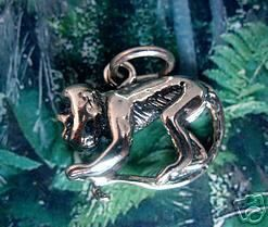 New Monkey Howler Sterling Silver detail charm pendant Sterling Silver 925 Jewelry