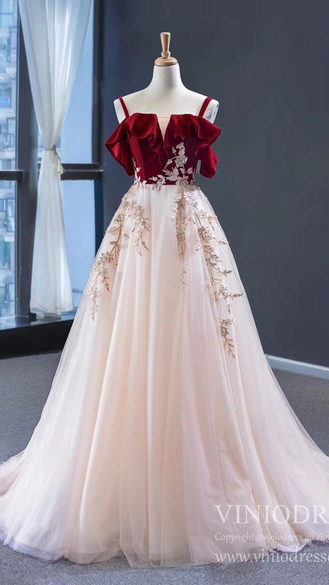 New Burgundy Velvet Long Prom Dresses with Straps FD1974