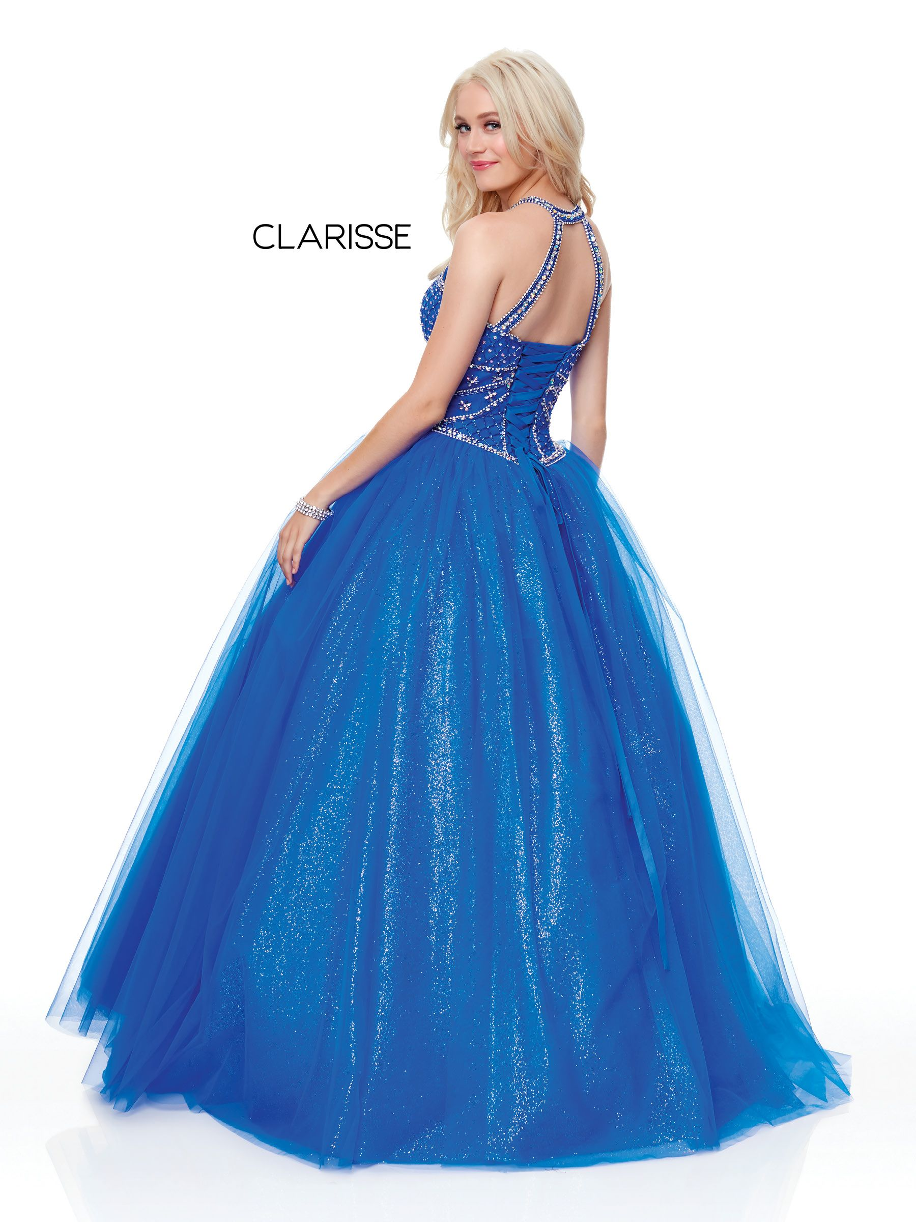 3814 royal glitter tulle ball gown with a halter