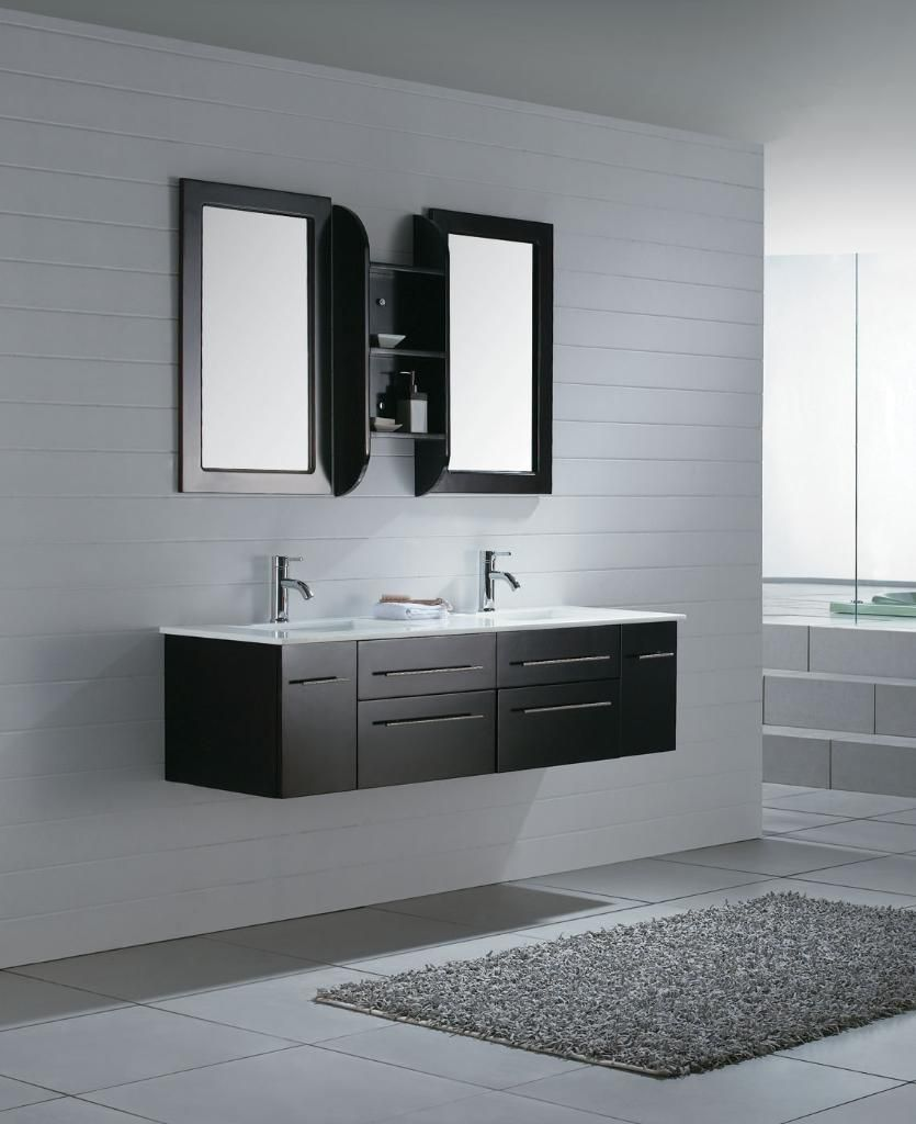 Modern sink furniture - Vintage Floating Sink Cabinet With Twin Vertical Mirror And Wooden Shelves Plus Rectangle Grey Rug 17891