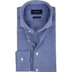 Photo of Profuomo Shirt Gestrickt Slim Fit Mid Blue ProfuomoProfuomo