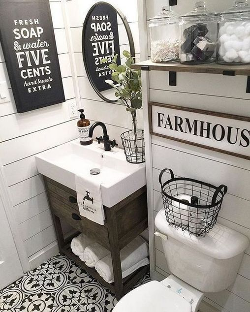 35 The New Fuss About Small Farmhouse Bathroom Half Baths Powder Rooms 59 Bdar Modern Farmhouse Bathroom Farmhouse Bathroom Decor Farmhouse Master Bathroom