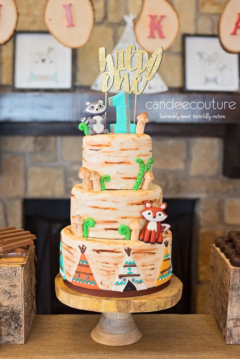 A Wild One Dessert Table Woodlands Theme Cake Candee