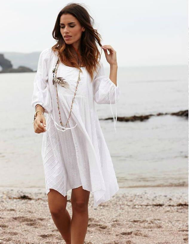 Nomads White Floaty Cotton Summer Tunic Dress Size 10 12 1 4 16 Fair Trade