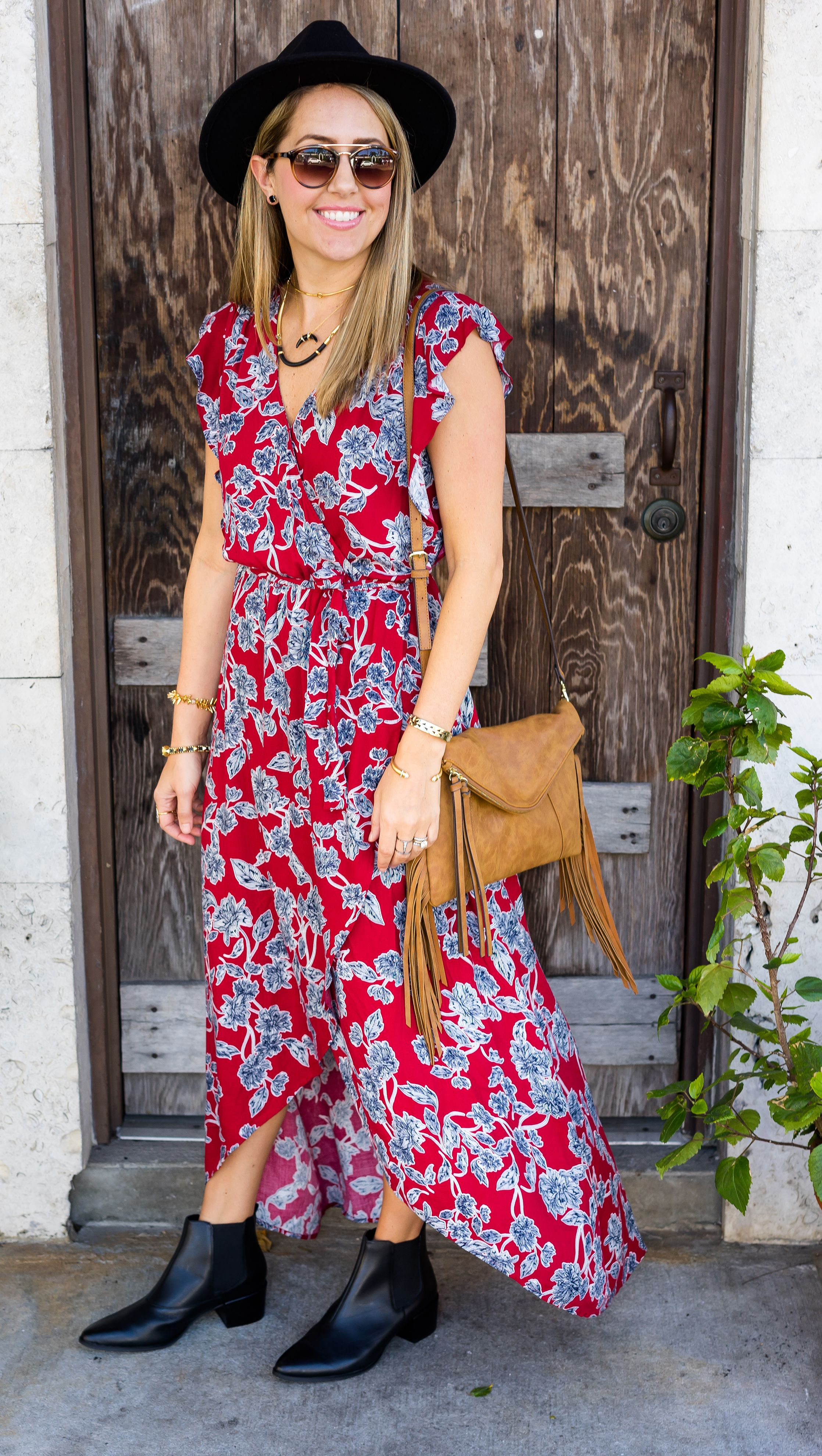 8ce215d8 Floral maxi dress, black ankle boots from Stitch Fix. #ad // I never  would've tried this dress on my own, but now it's one of my favorite things  in my ...