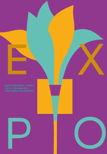 Cartaz Exposição 1 - Tríade | Escolha de uma tríade cromática: roxo, laranja e turquesa (Pantone Coated 563 C) para representar uma diversidade.