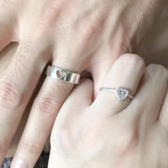 Wave Matching Rings For Couples Promise Rings His And Hers