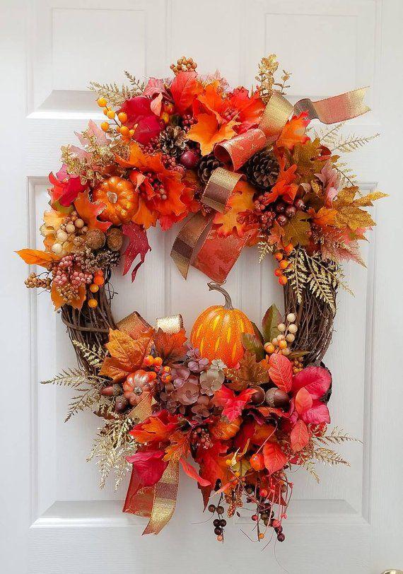 Best Fall Wreath Green Pumpkin Wreath Orange Pumpkin Wreath Fall Grapevine Wreath Autumn Pumpkin Wreath Fall Pumpkin Door Wreath