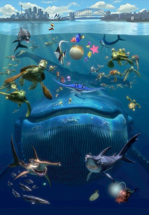 Doing A Finding Nemo Theme For Kids Bathroom This Would Be Perfect Shower Curtain Or Canvas Print On The Wall