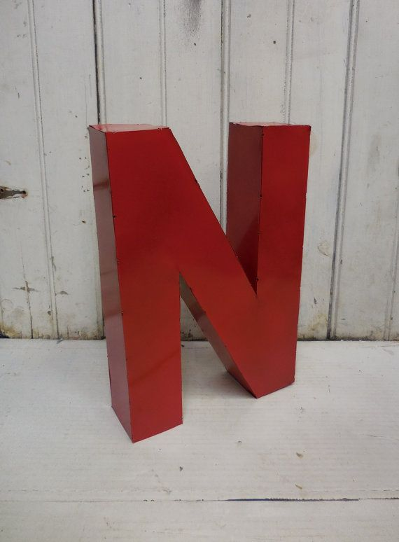 """Rustic Metal Letter """"N"""" salvaged Industrial Red Initial Standing 14 inch"""