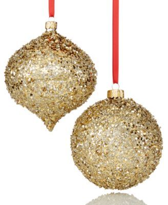 holiday lane set of 2 gold beaded ornaments created for macys christmas ornaments holiday lane macys