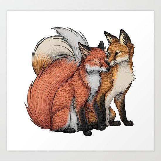Fox Cuddle Art Print by lyndseygreen