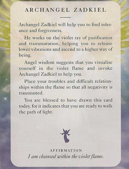 """Archangel Zadkiel"" -  Angel Card – Diana Cooper"