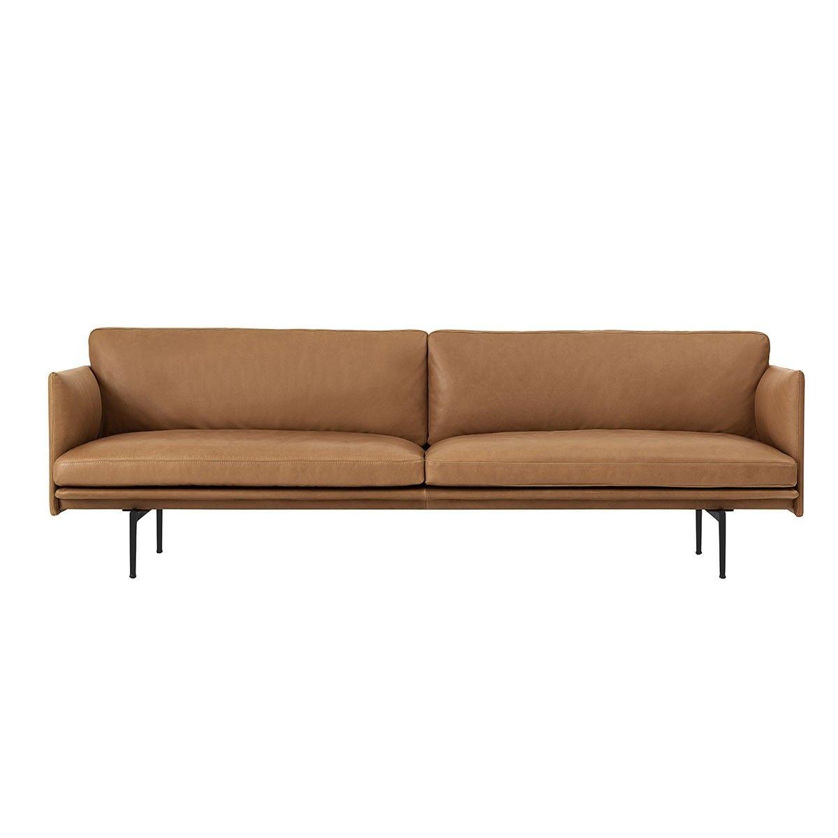 Canapé Places Outline Cuir Cognac Muuto Designé Par Anderssen - Canapé 3 places pour salon en l moderne