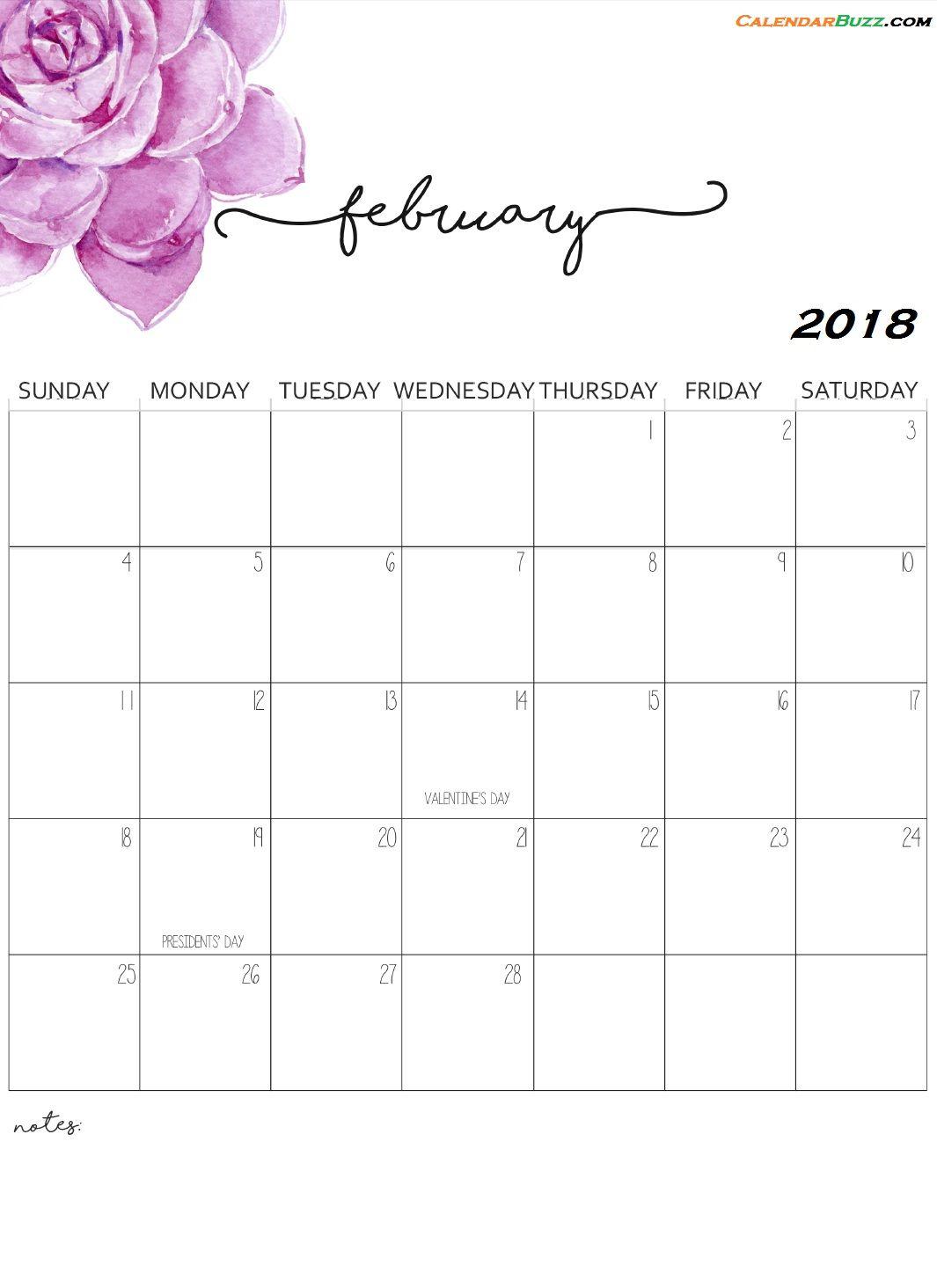 Monthly Wall Calendar 2018 February