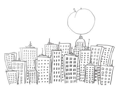 James and the Giant Peach in New York coloring page from