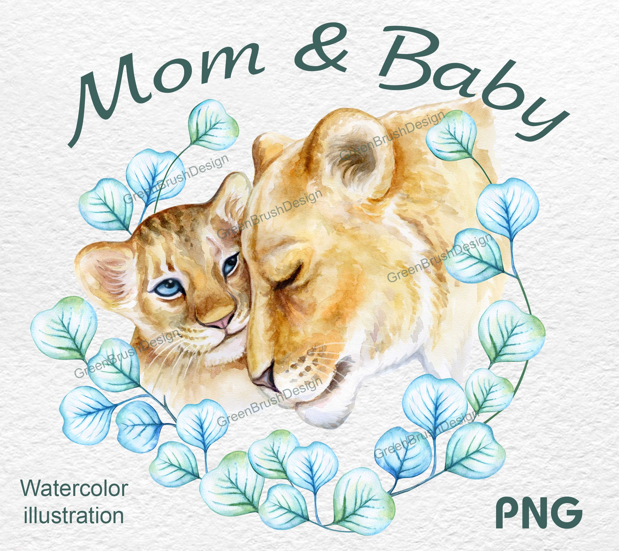 Lion Mum And Baby Little Lion Man Animal Png Watercolor Etsy Baby Animals Animals Watercolor Lion