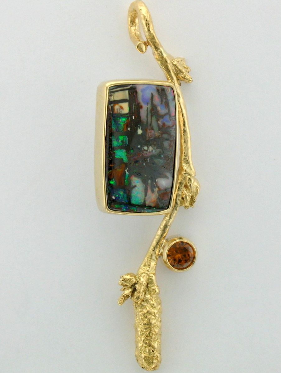 Micky Roof Original Outrageous Opals Custom Pendant In 14k