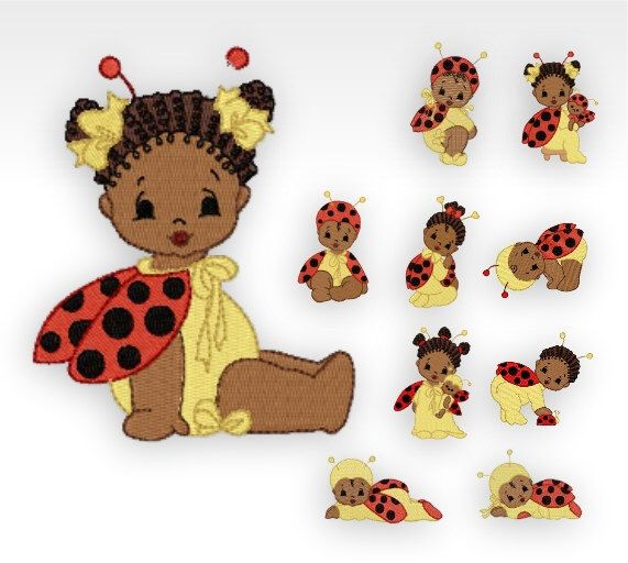 African Baby Machine Embroidery Designs Baby Bugs Set Of 10 By