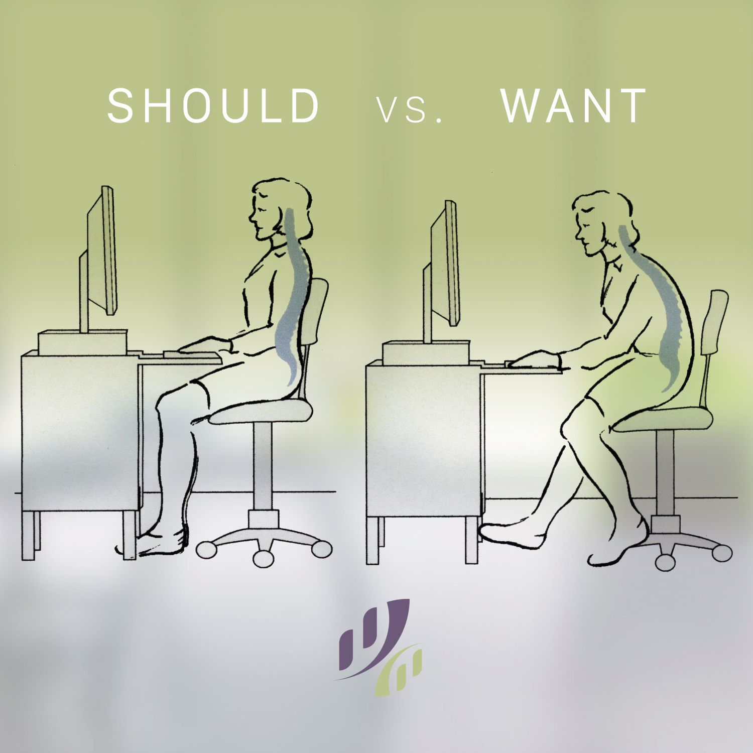 How to sit at a computer? Should vs. Want. posture