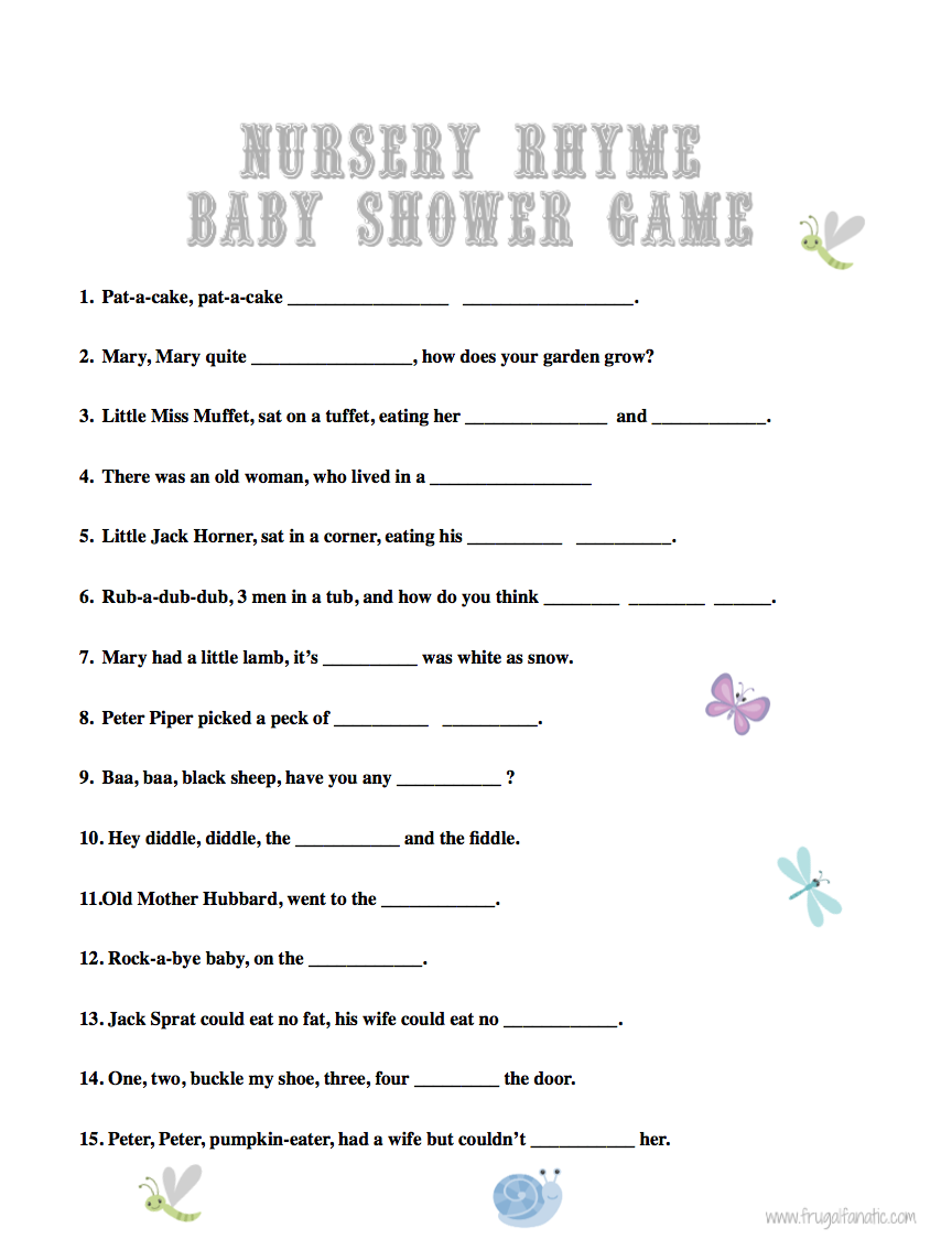 baby shower games nursery rhyme nursery rymes baby shower games