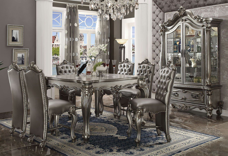 Versailles Counter Dining Room Set Antique Platinum Counter