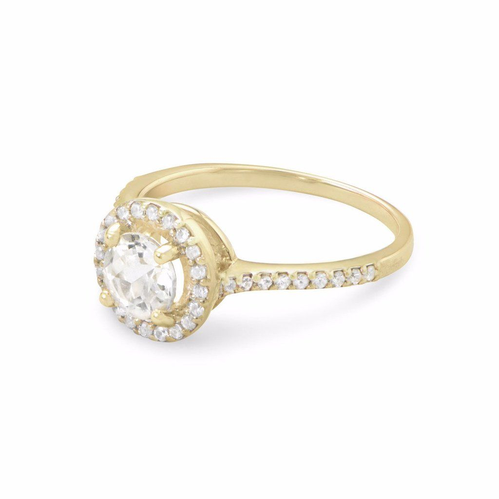 10 Karat Gold Halo Style Ring With White Topaz And Sapphires In 2020 Halo Style Rings Yellow Gold Halo White Topaz Rings