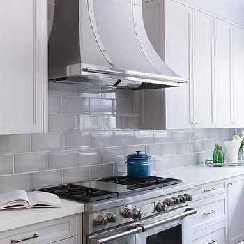 Gray Beveled Kitchen Backsplash Tiles with French Hood grey and