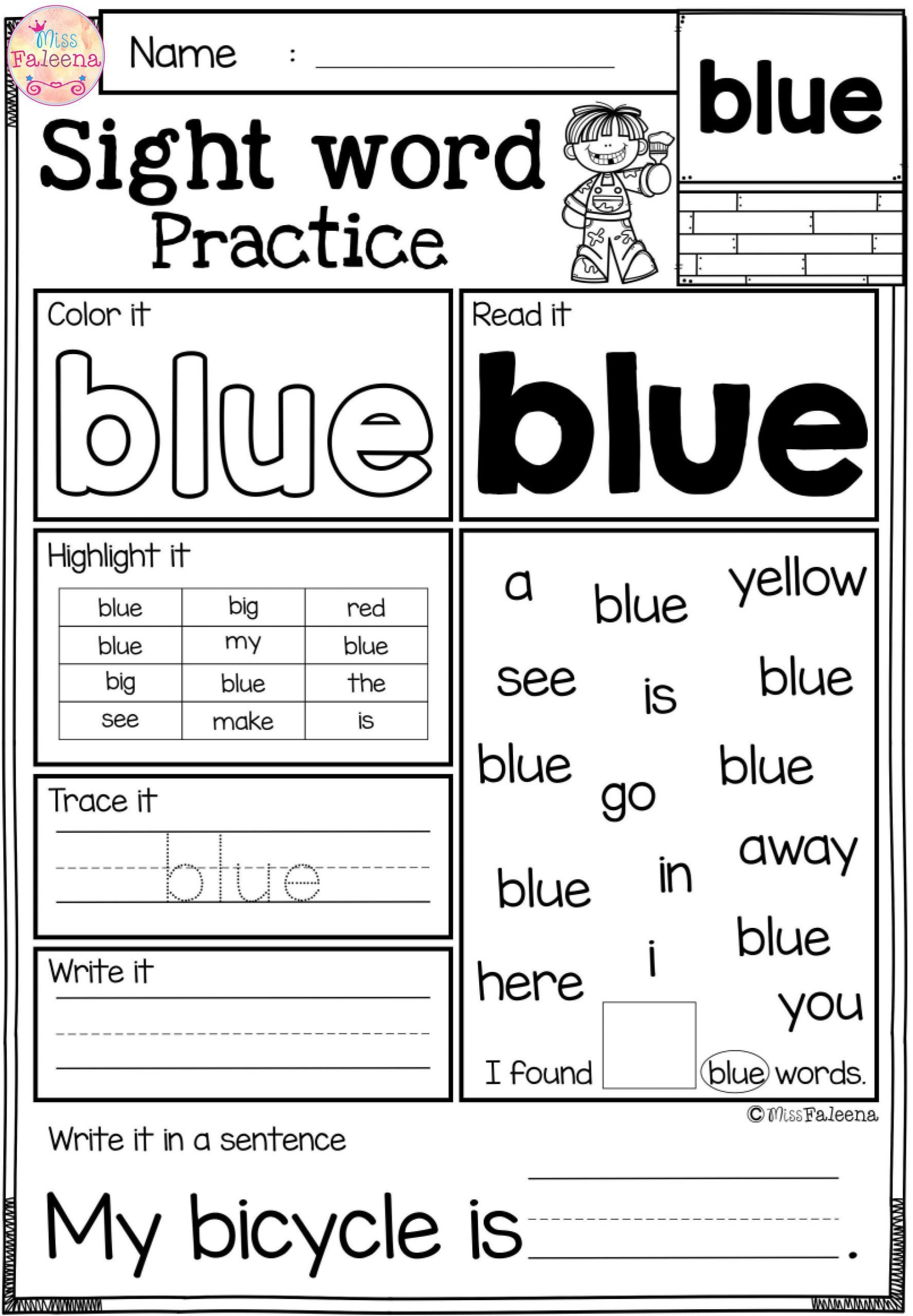 5 Kindergarteen Worksheets Sight Words Preschool In