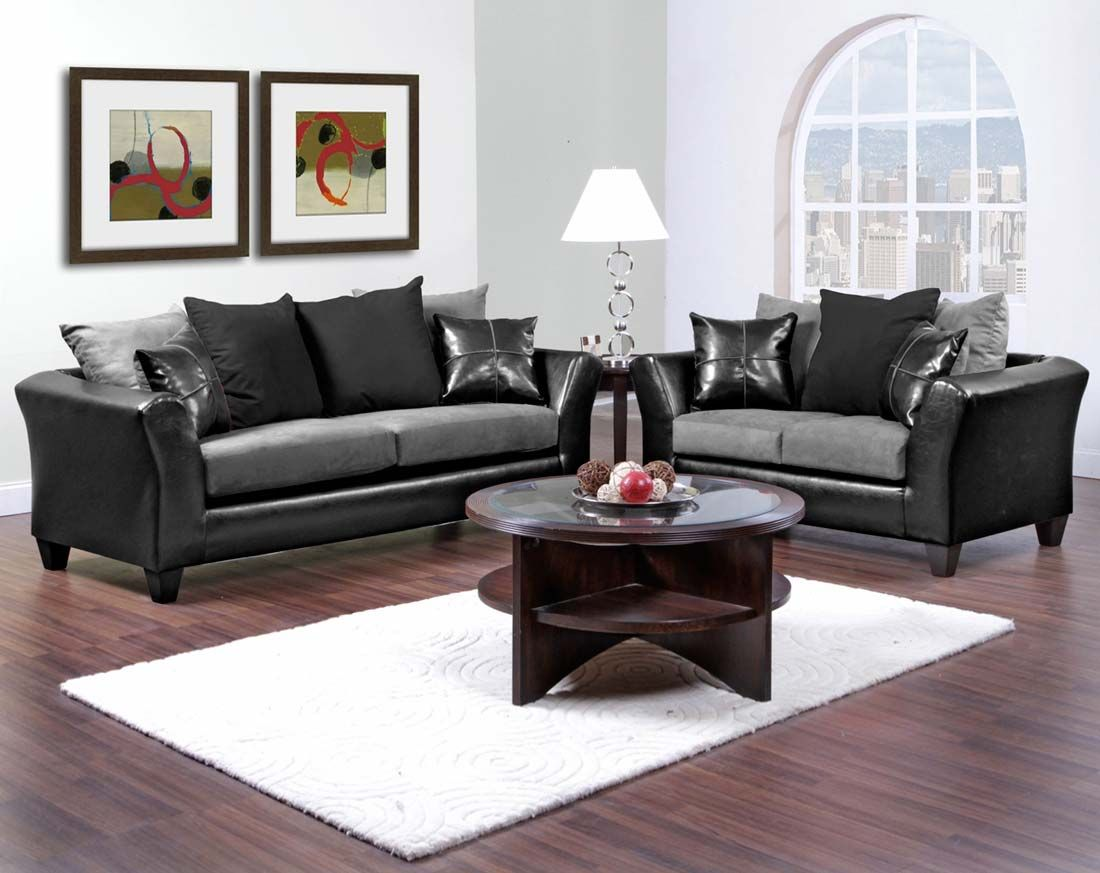 Good Gray And Black Couch Set | Sierra Graphite Sofa And Loveseat