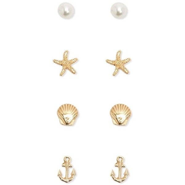 Forever21 Faux Pearl Etched Stud Set 13 Brl Liked On Polyvore Featuring