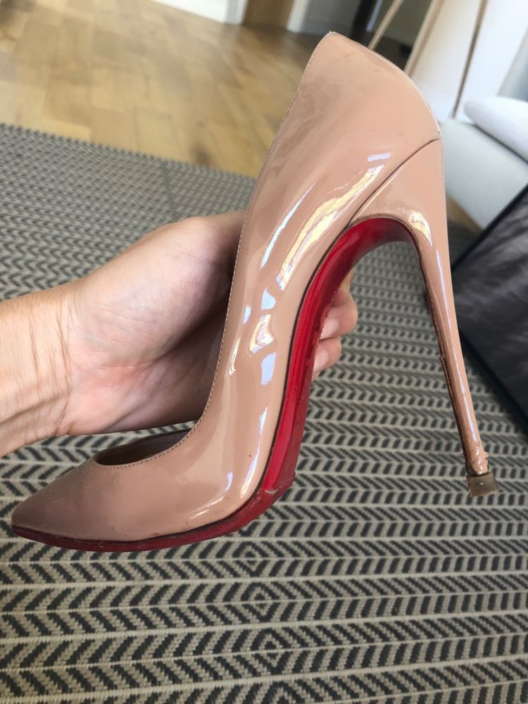 5389ef9d5dba CHRISTIAN LOUBOUTIN So Kate 120mm Pumps Patent Leather Nude Size 38 1 2   fashion