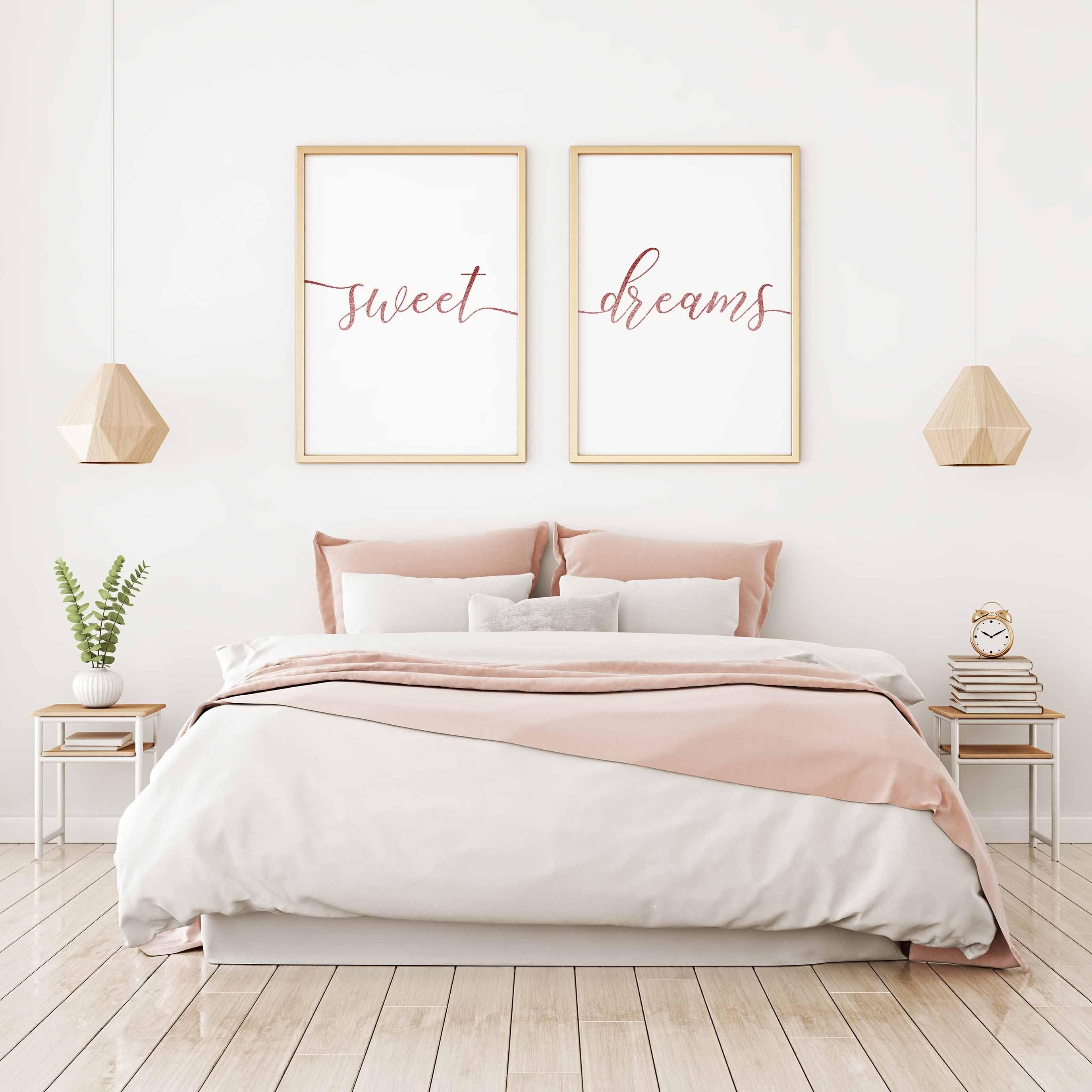 Sweet Dreams Wall Art Sweet Dreams Print Rose Gold Print Girls