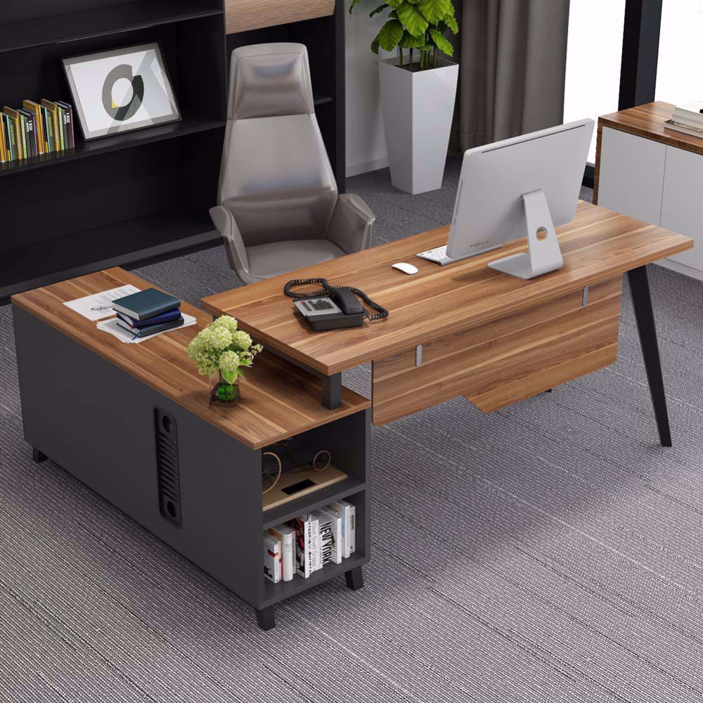 With Its Simple Silhouette And Modern L Shaped Look This L Shape Executive Desk Is Designed To Let You Desk Layout Office Table Design L Shaped Executive Desk