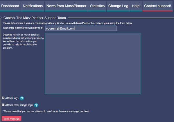 Found a bug -contact us now from within Mass Planner - www.massplanner.c...