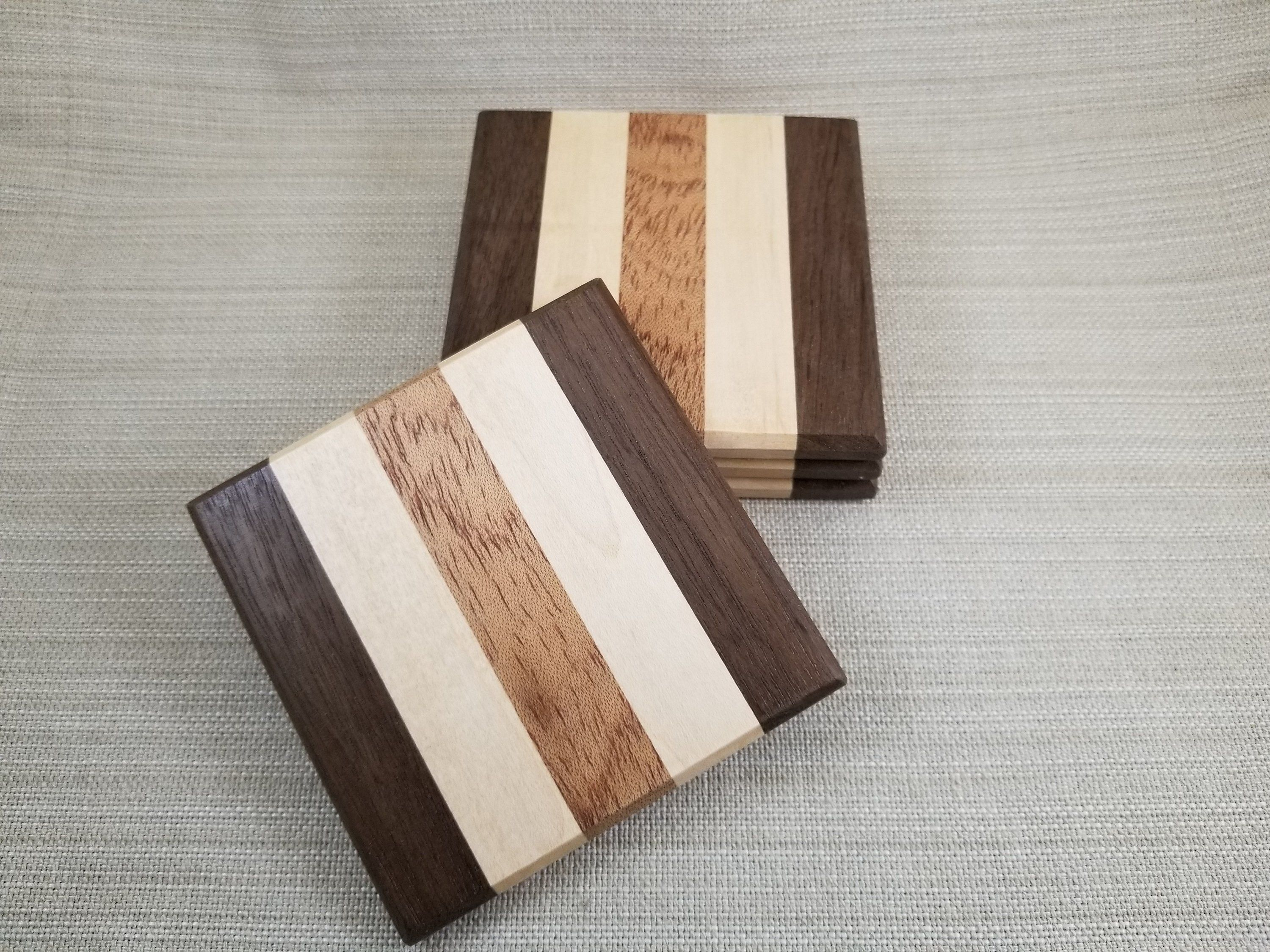 Musowood Set of 2 Wooden Handcraved Coaster,Made of Walnut Cherry