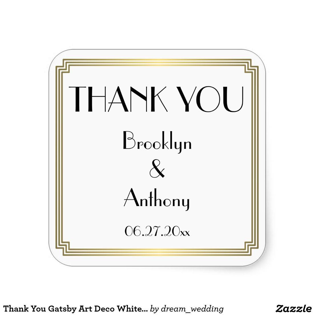 Thank You Gatsby Art Deco White Wedding Stickers | Art Deco Great ...