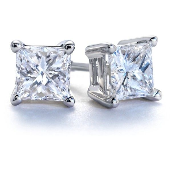 Blue Nile Princess-Cut Diamond Earrings in Platinum (1 ct. tw.) found on Polyvore