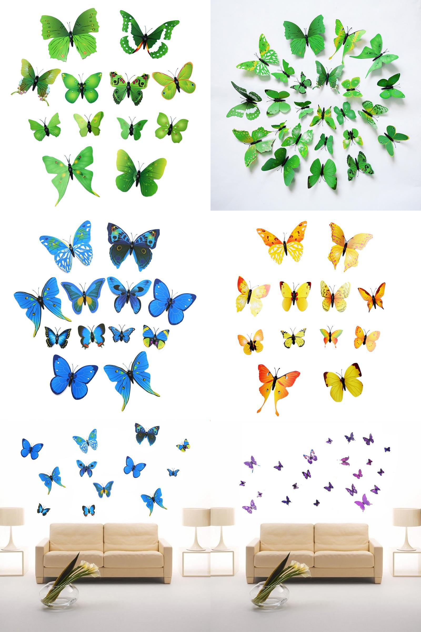 Visit To Buy 12Pcs Lot 3D PVC Magnet Butterflies Sticker DIY Wallpaper Stickers