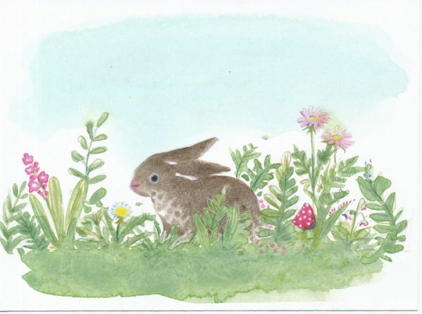 spring rabbit, watercolor with colored pencil