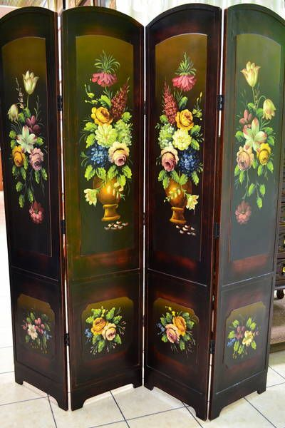4 Panel Hinged Room Divider Screen Hand Painted Floral Design