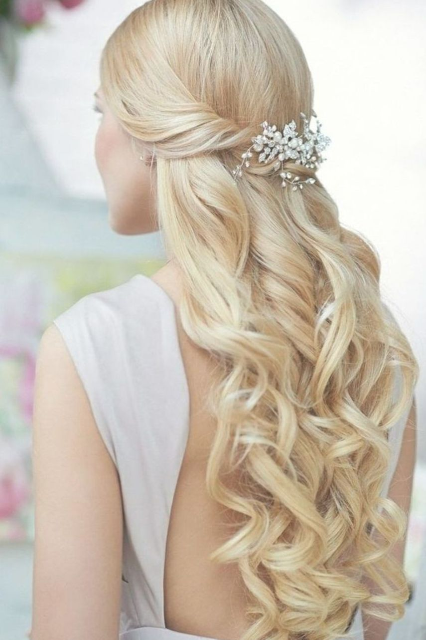 Bridal Hairstyles For Long Hair Semi Open With Waves And Hair Clip Hairstyles Long Hair Styles Hair Styles Wavy Wedding Hair