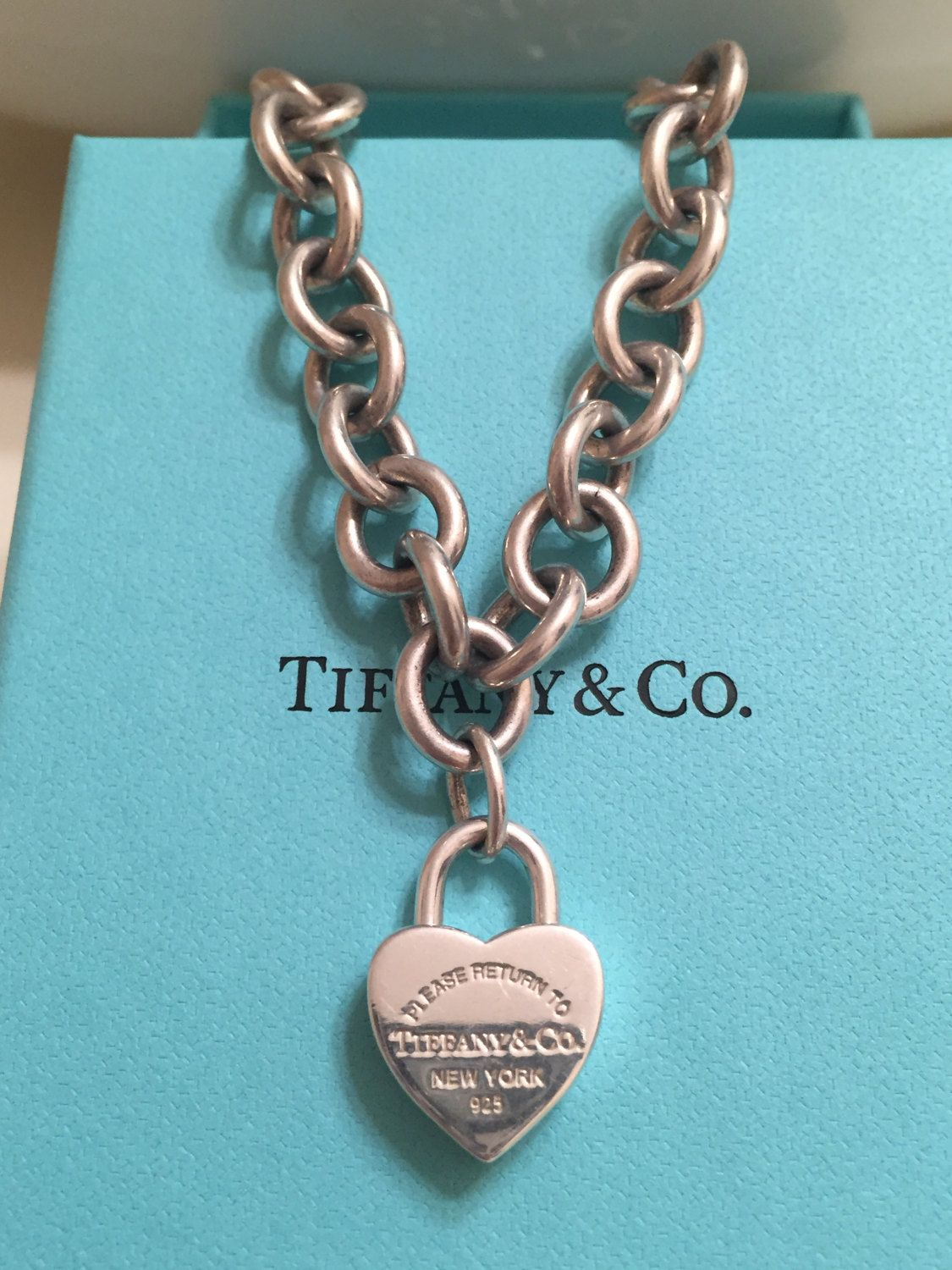 270cea292 Classic Authentic Tiffany & Co. Sterling Silver Return to Tiffany Heart Padlock  Necklace on Tiffany Chunky Chain by Tiffanytreasureshop on Etsy